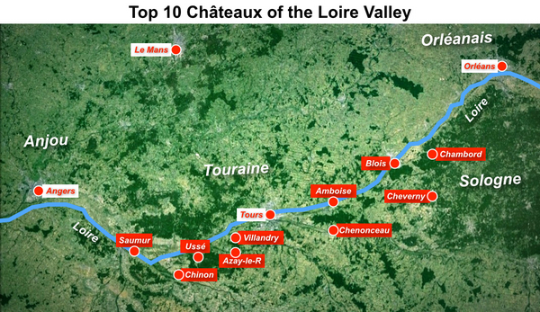 Map of the 10 most beautiful chateaux of the Loire by French Moments