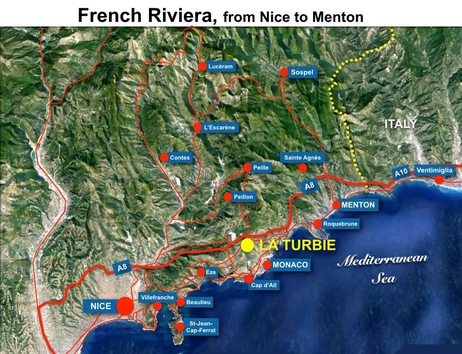 La Turbie Situation Map
