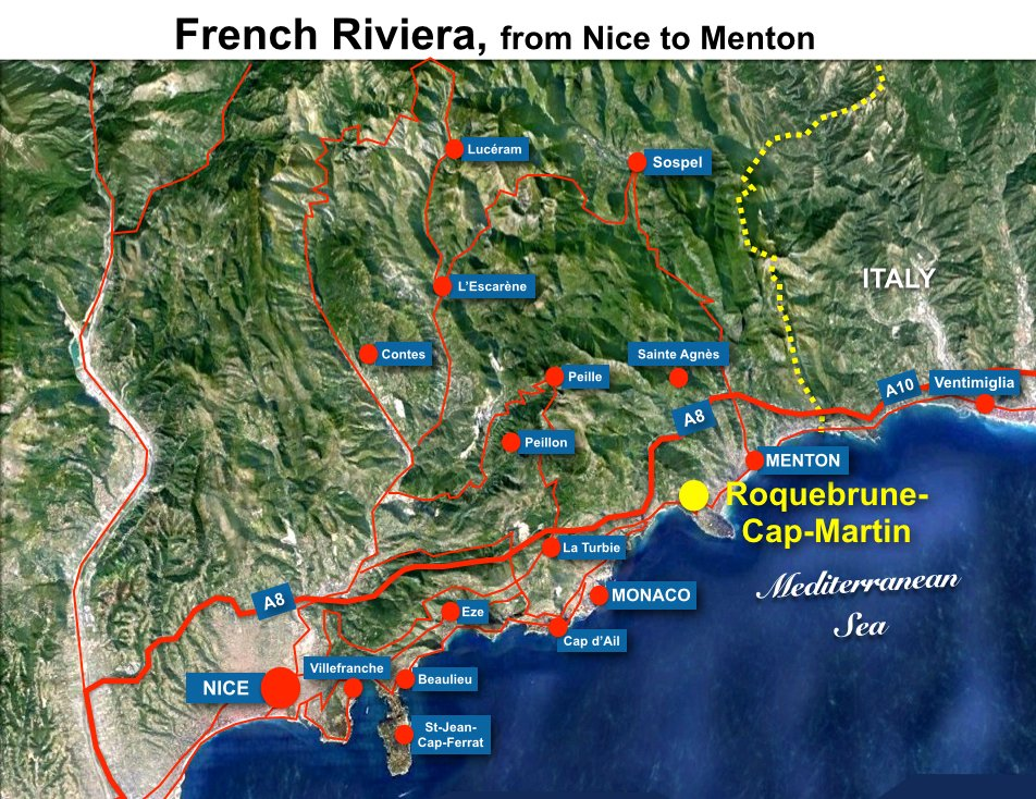 Roquebrune Situation Map