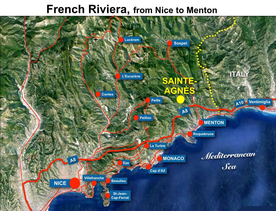 Sainte-Agnès Map HR
