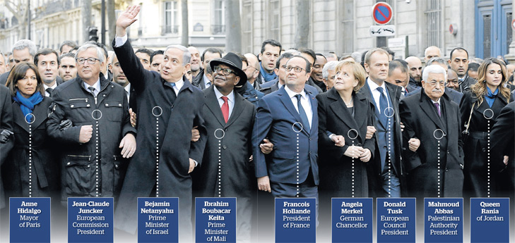 Leaders at the Paris March 11 January 2015 - photo AFP