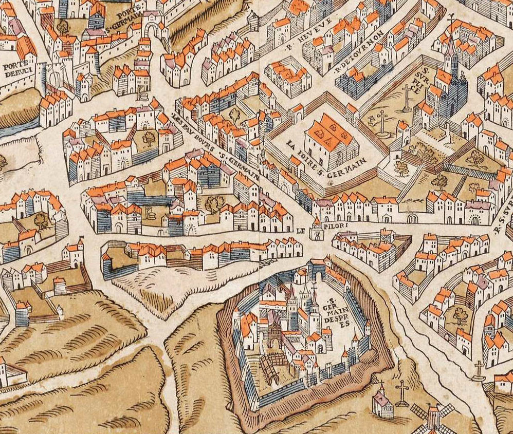 Map of the Abbey and Quarter Saint-Germain in 1550