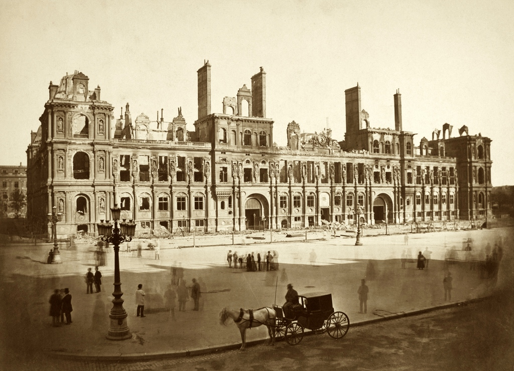 Paris City-Hall burnt down in 1871 LR
