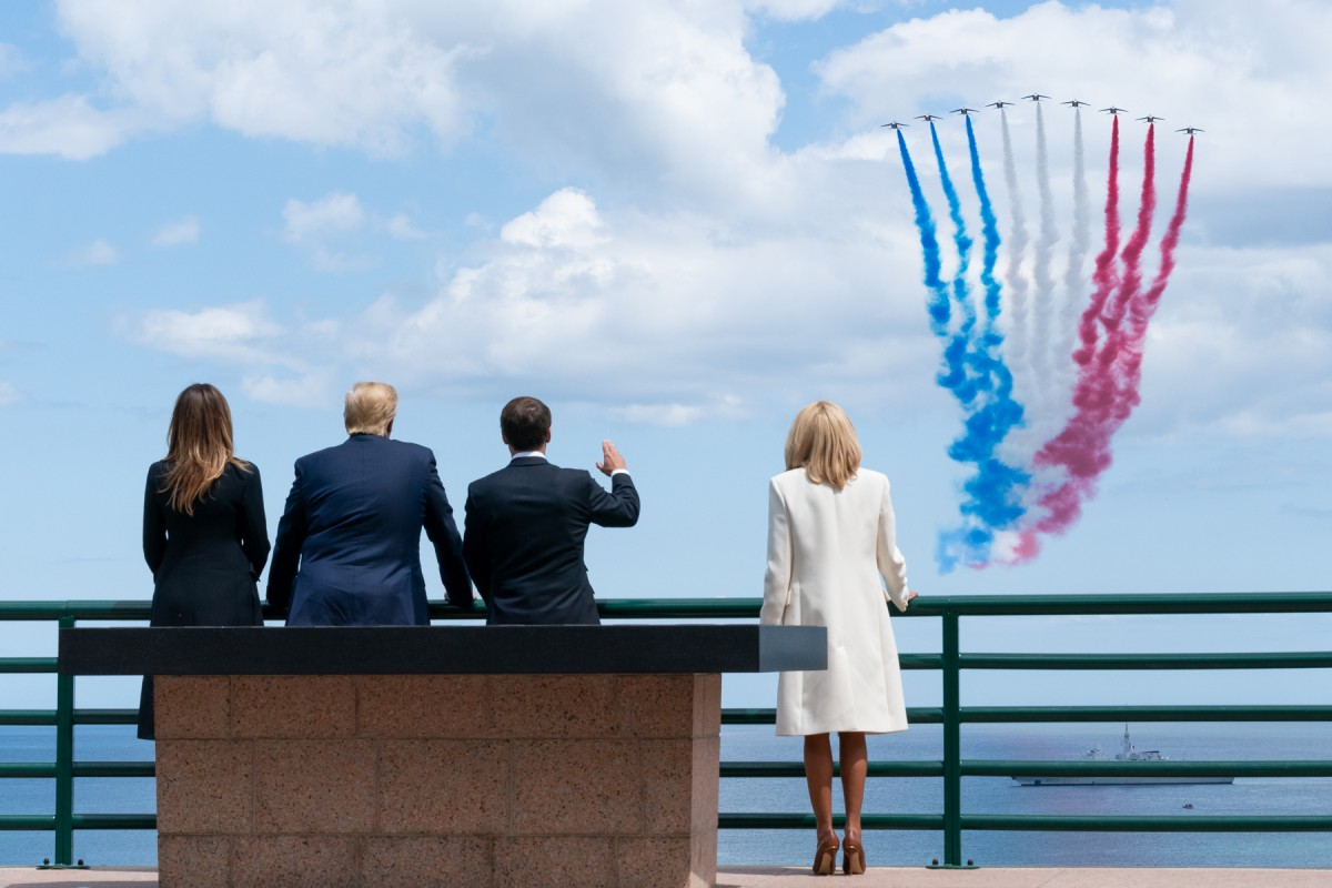 Presidents Trump and Macron at DDay75 in May 2019