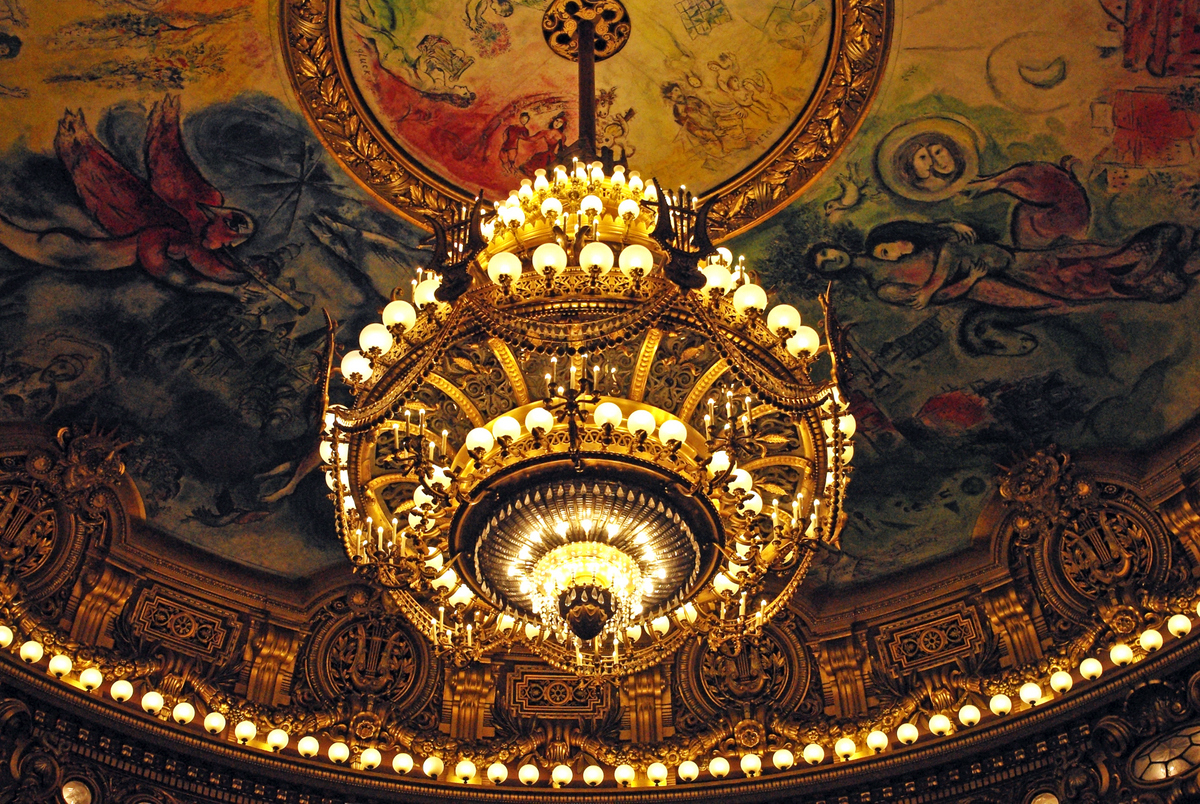 Ceiling painted by Marc Chagall and Chandelier, Auditorium of Palais Garnier © French Moments