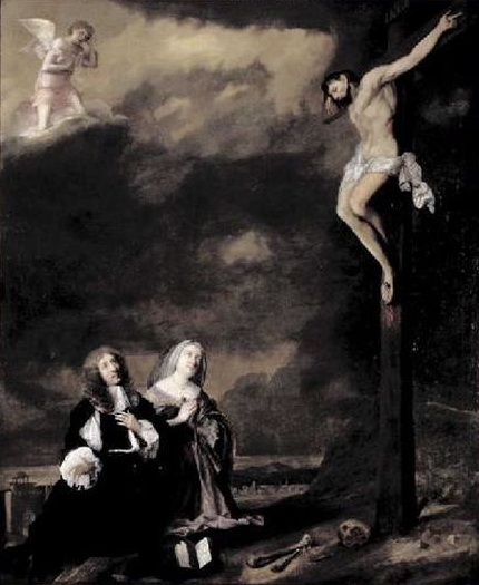 Henry Arundel and family at the cross by John Michael Wright