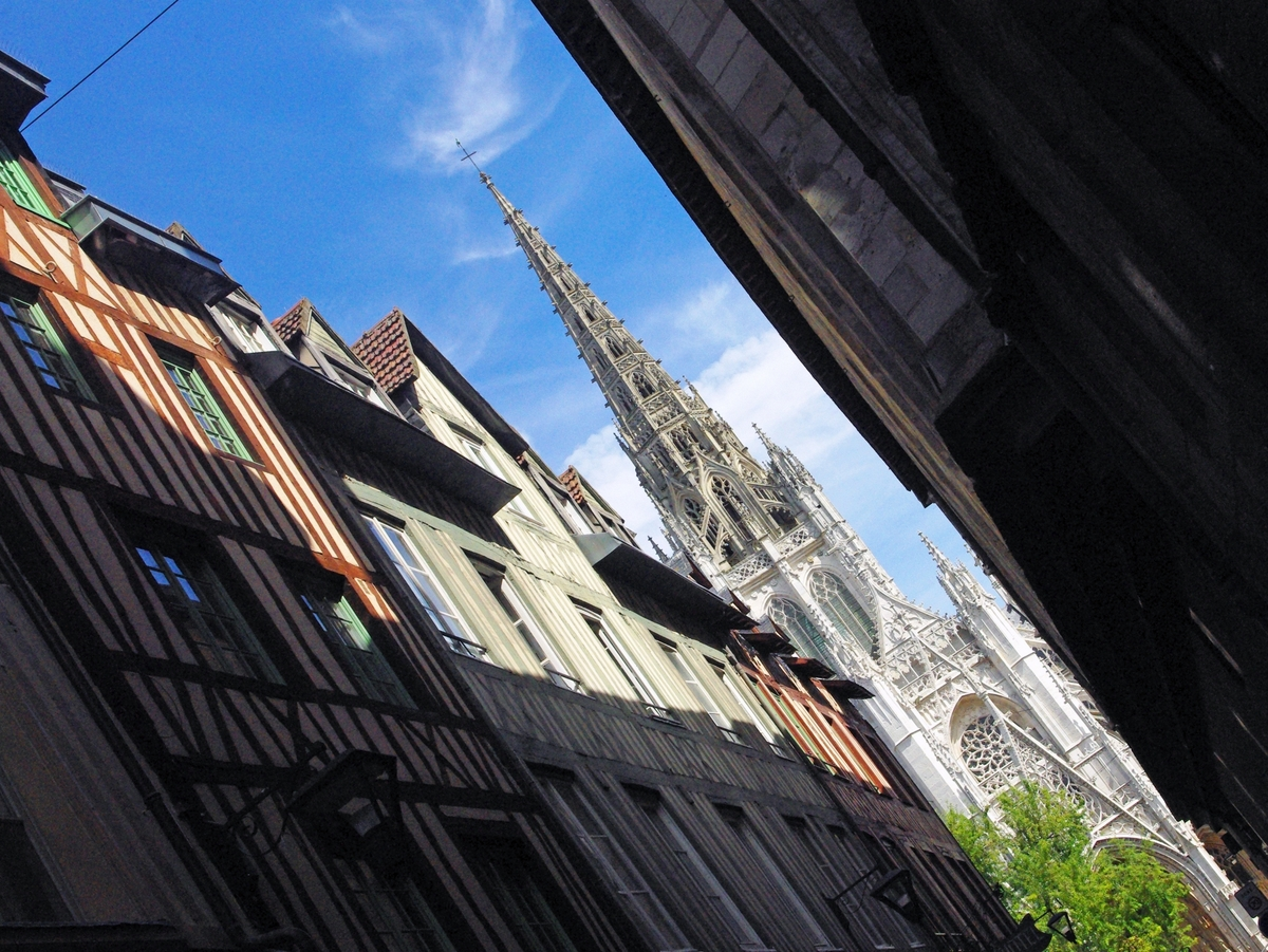 Rue Saint Romain and Saint Maclou Church in Rouen copyright French Moments