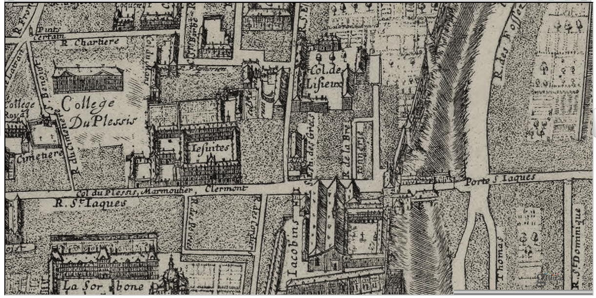 Rue Saint-Jacques, Map of Gomboust - 1652