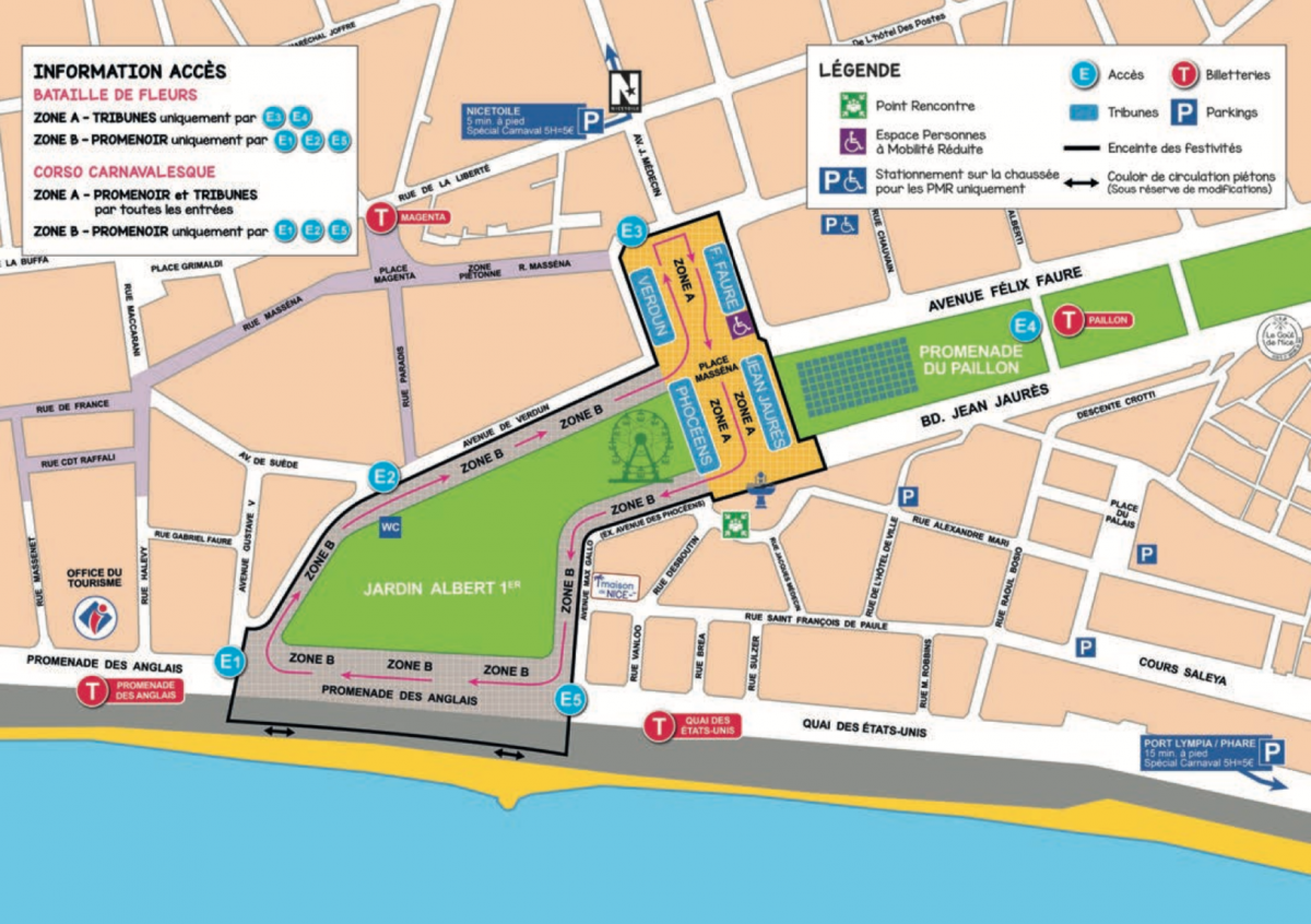 Map of Nice Carnival