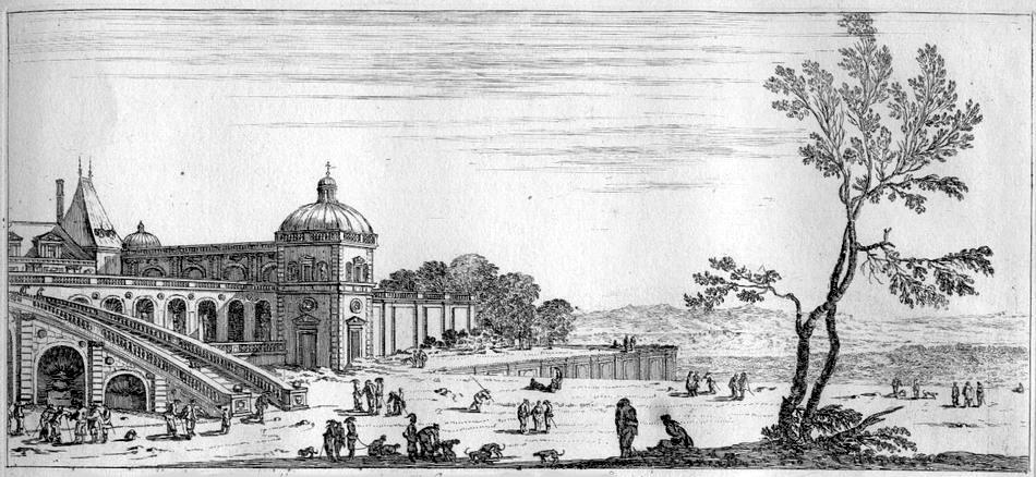 Etching of Château-Neuf in Saint-Germain-en-Laye