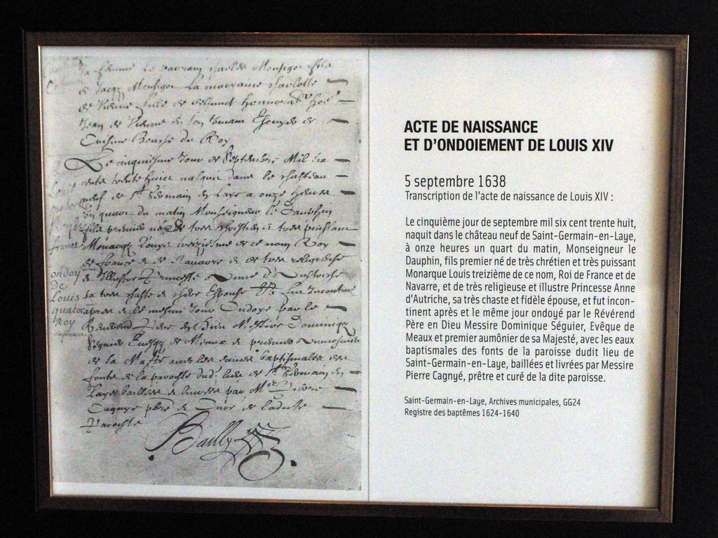 Birth certificate of Louis XIV at the Pavillon Henri IV © French Moments