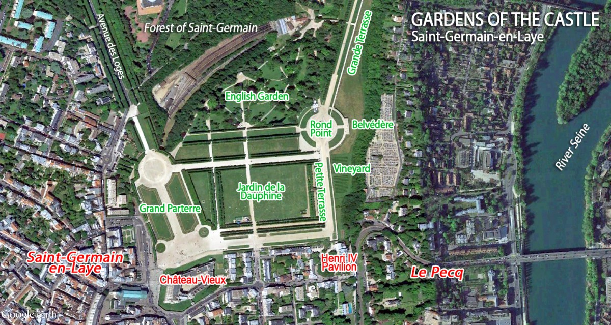 Map of Saint-Germain-en-Laye Castle and Gardens by French Moments