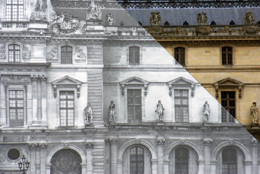 A closer look at the 'invisible' pyramid of the Louvre by JR © French Moments