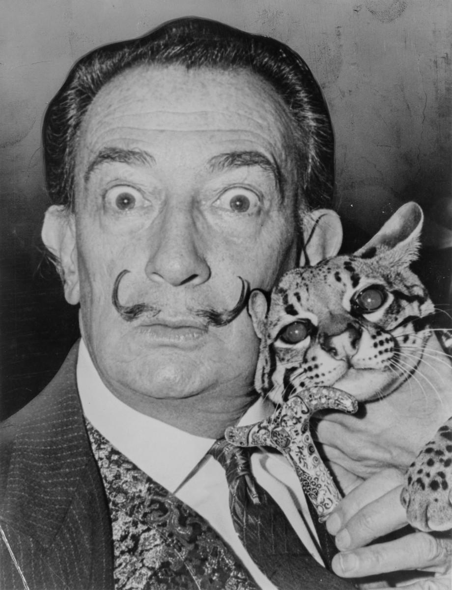 Salvador Dali with ocelot