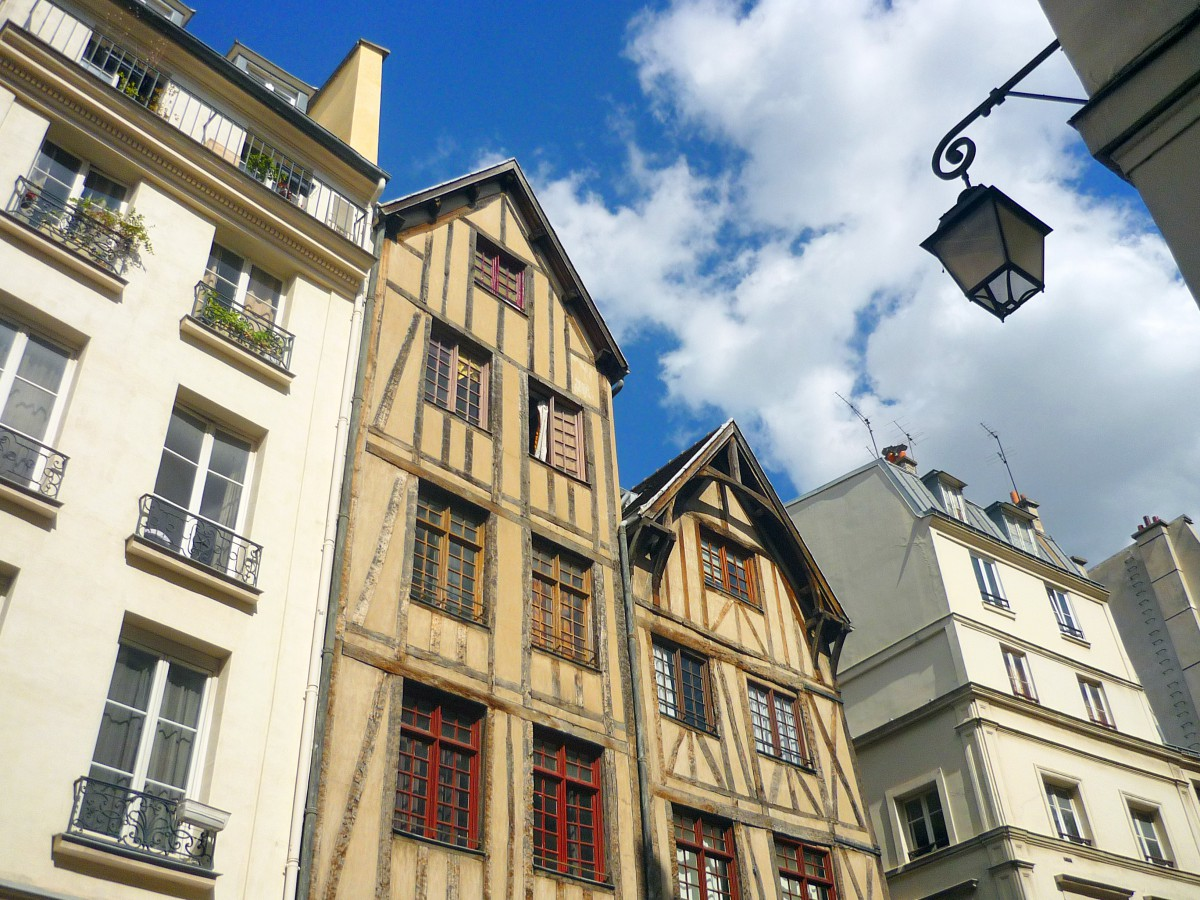 Half-timbered Houses On Rue Francois Miron, Paris