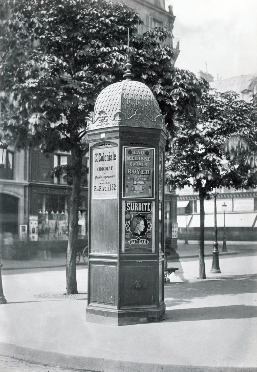 Newspaper kiosk and its dome circa 1865 by Charles Marville