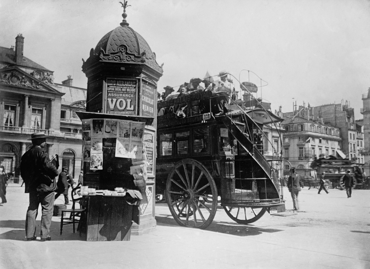 Traditional newspaper kiosks of Paris in the 19th century