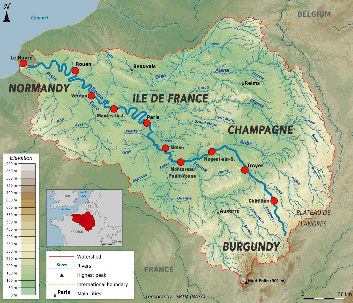 Topographic map of the Seine basin © Paul Passy - licence [CC BY-SA 3.0] from Wikimedia Commons