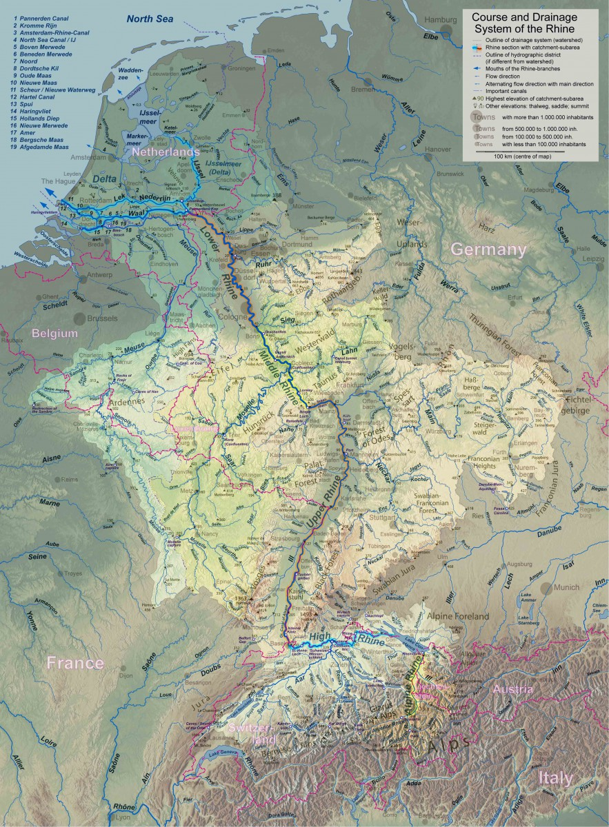Rhine and Meuse Watersheds © WWasser - licence [CC BY-SA 3.0] from Wikimedia Commons