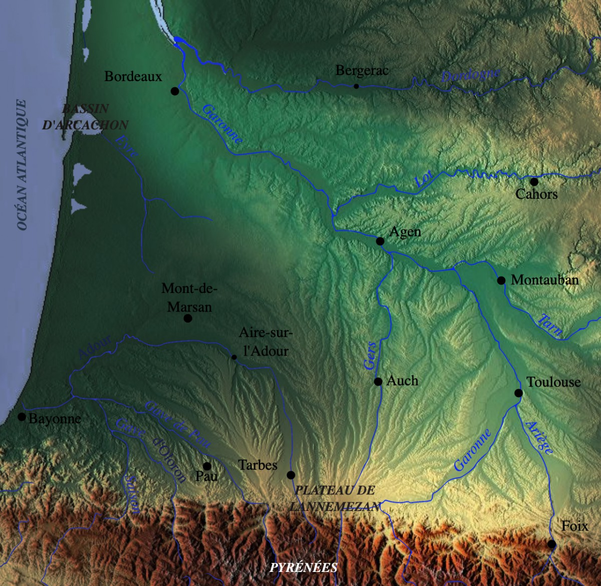 Garonne Watershed © Pethrus - licence [CC BY-SA 3.0] from Wikimedia Commons
