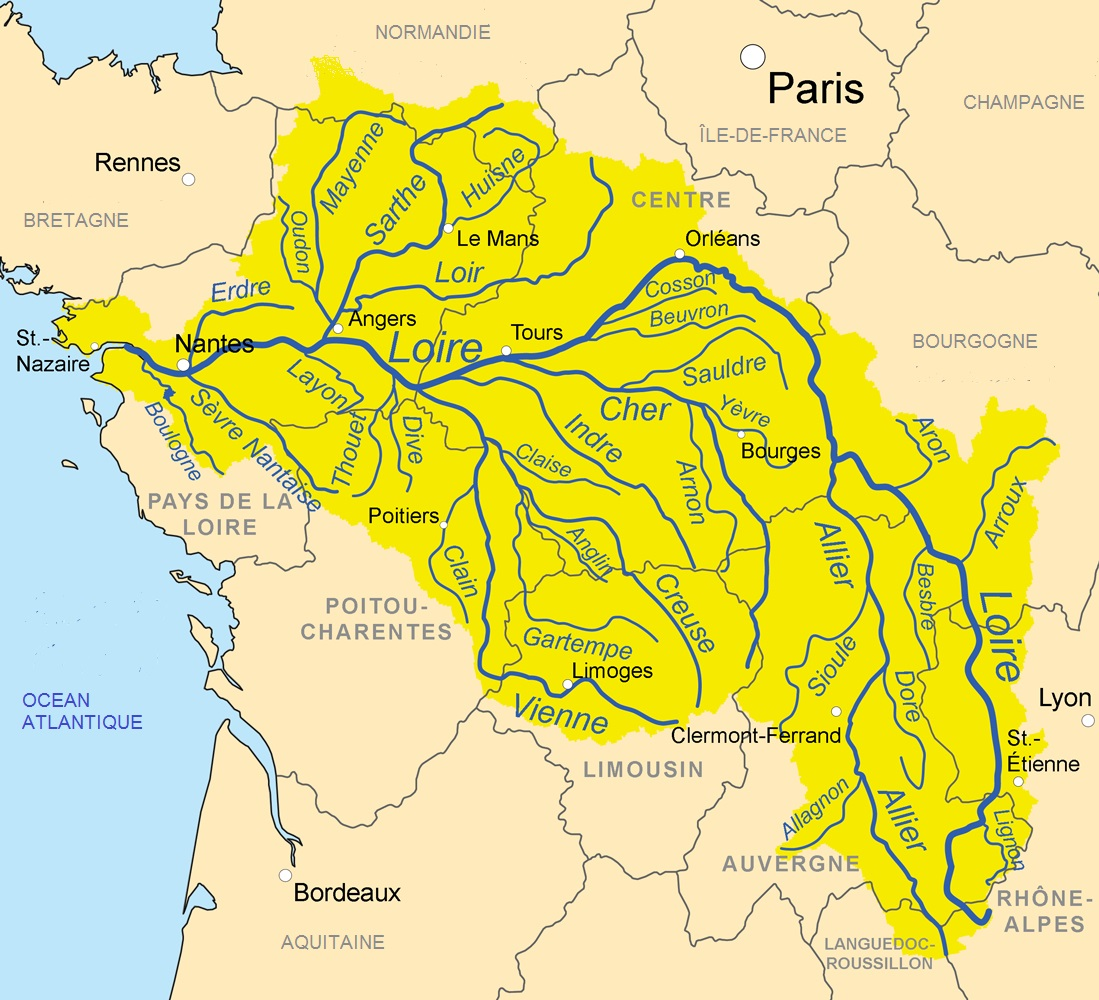 Loire Watershed © Kmusser - licence [CC BY-SA 3.0] from Wikimedia Commons