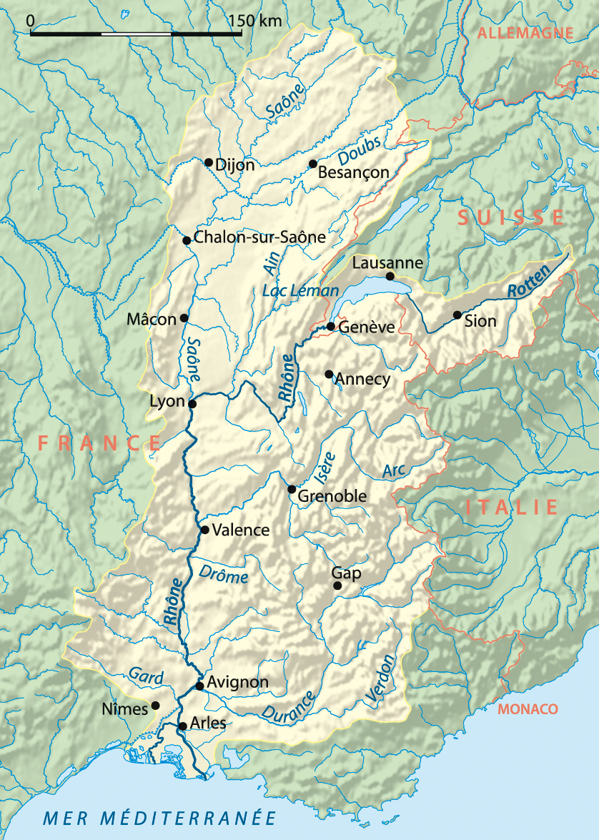 The Rhone watershed © NordNordWest - licence [CC BY-SA 3.0] from Wikimedia Commons