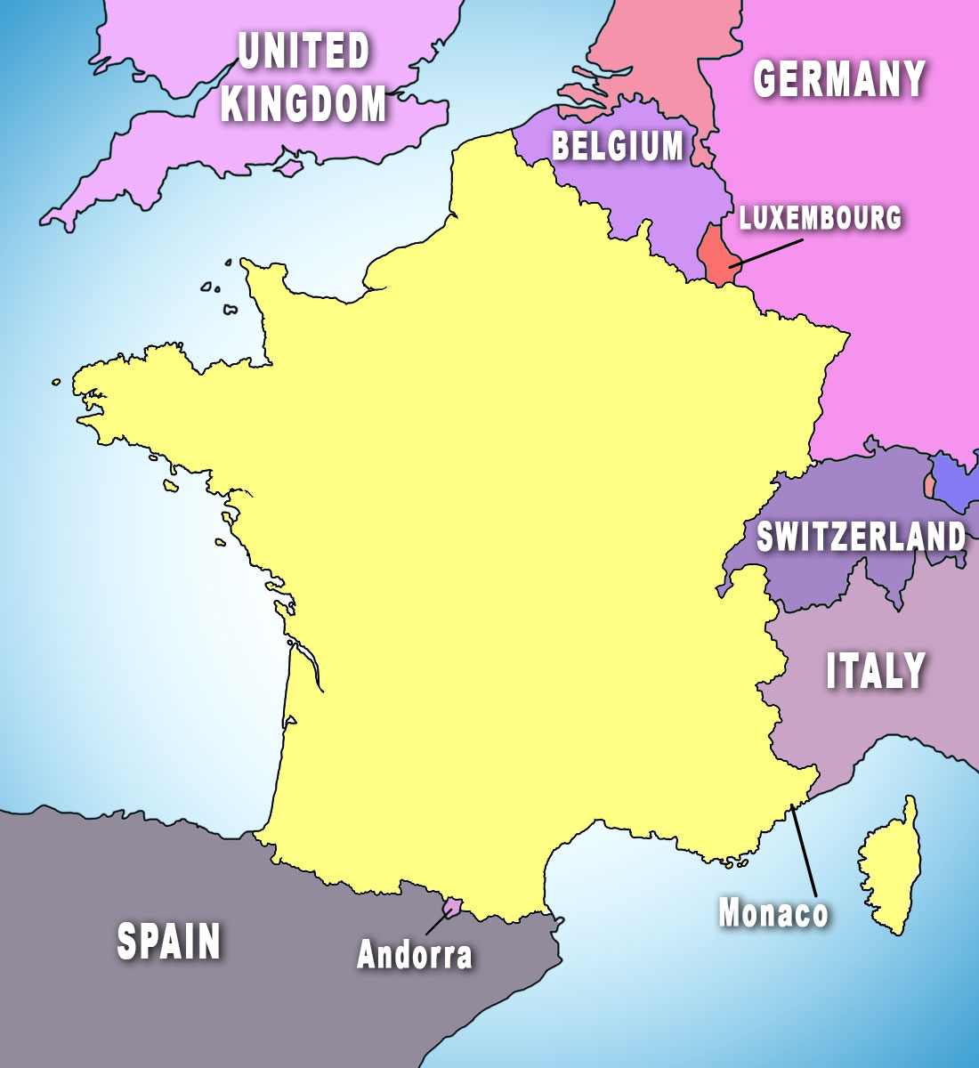 Bordering countries of France Map © French Moments