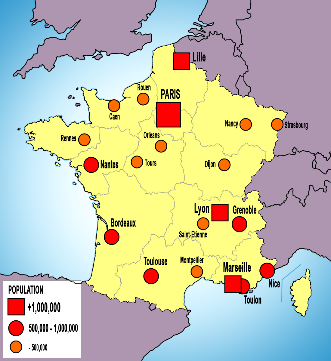 France Map of Cities copyright French Moments