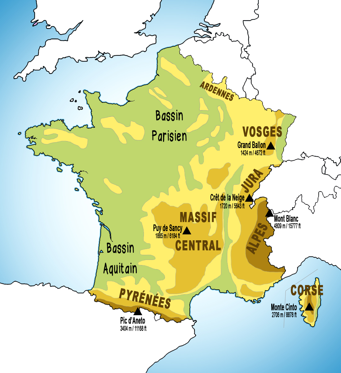 Map of the Mountains of France © French Moments