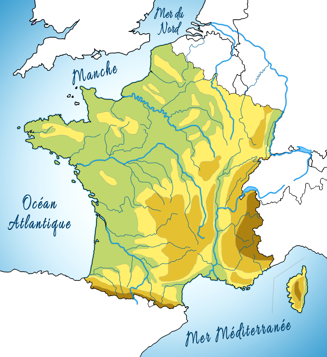 Map of France - the seas © French Moments