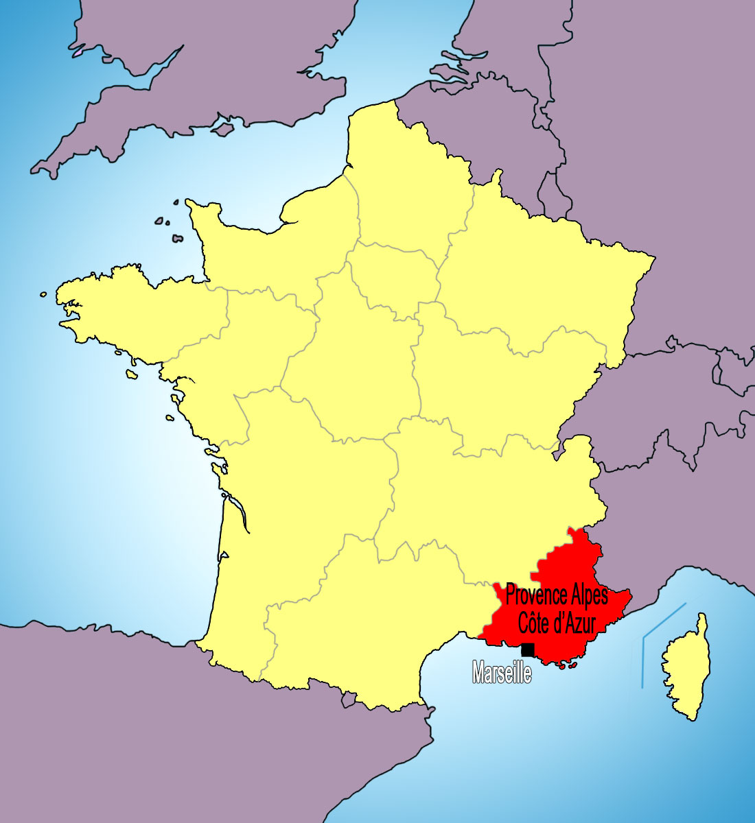 Provence-Alpes-Côte d'Azur on a Map of France © French Moments