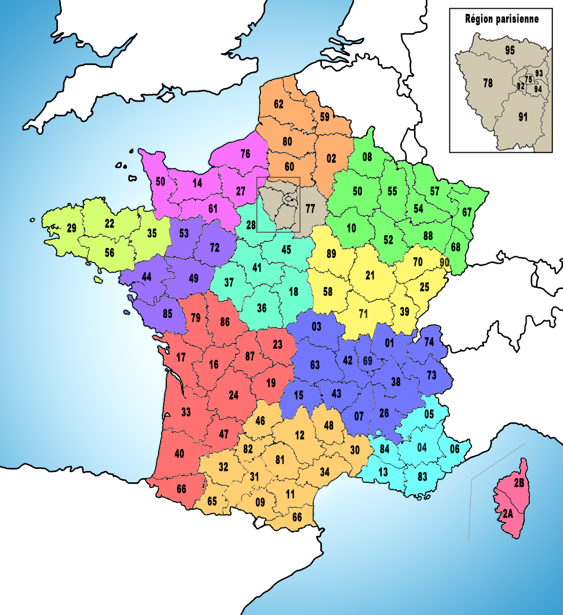 Map of the French départements copyright French Moments