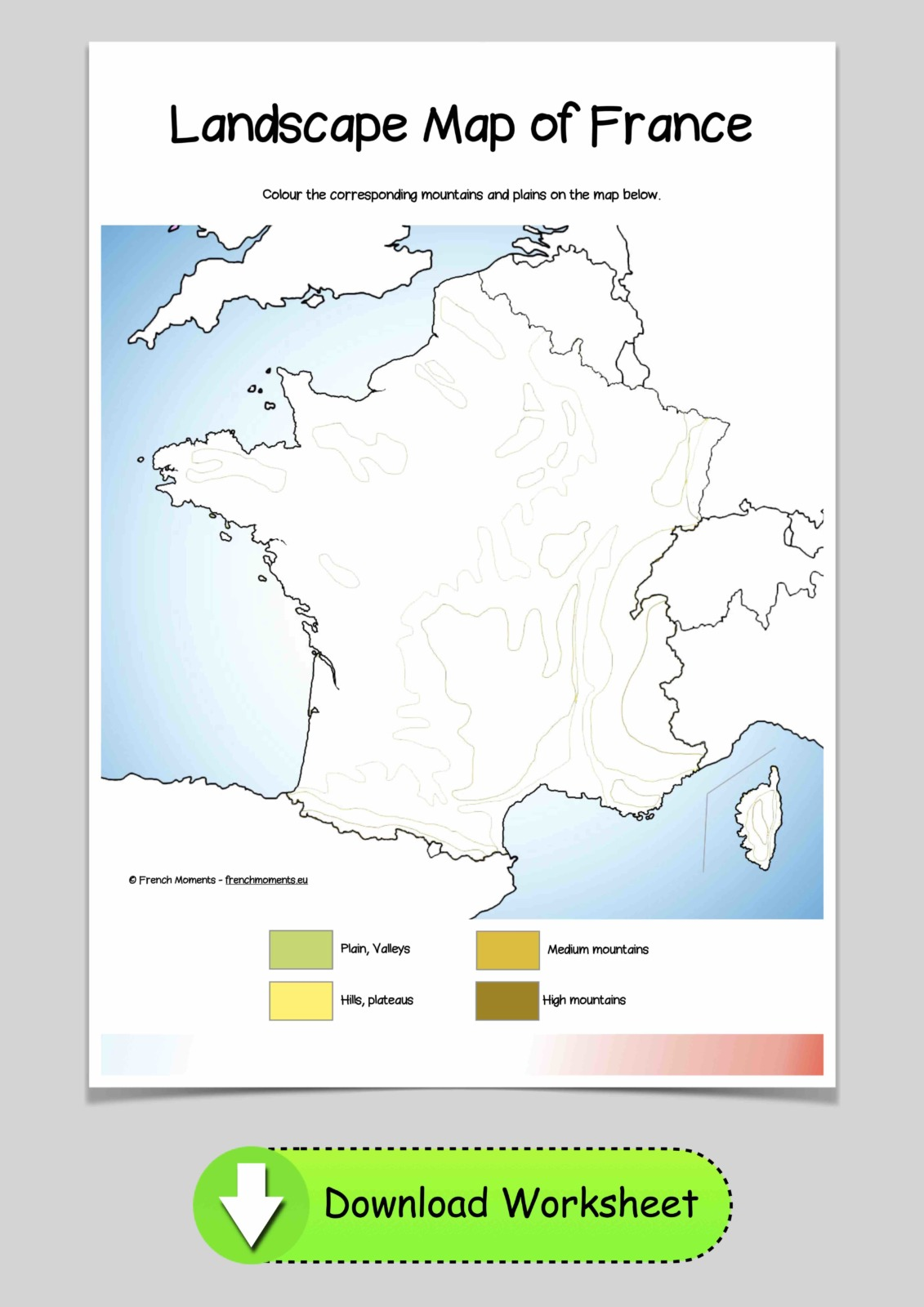 Mountains of France blank map © French Moments