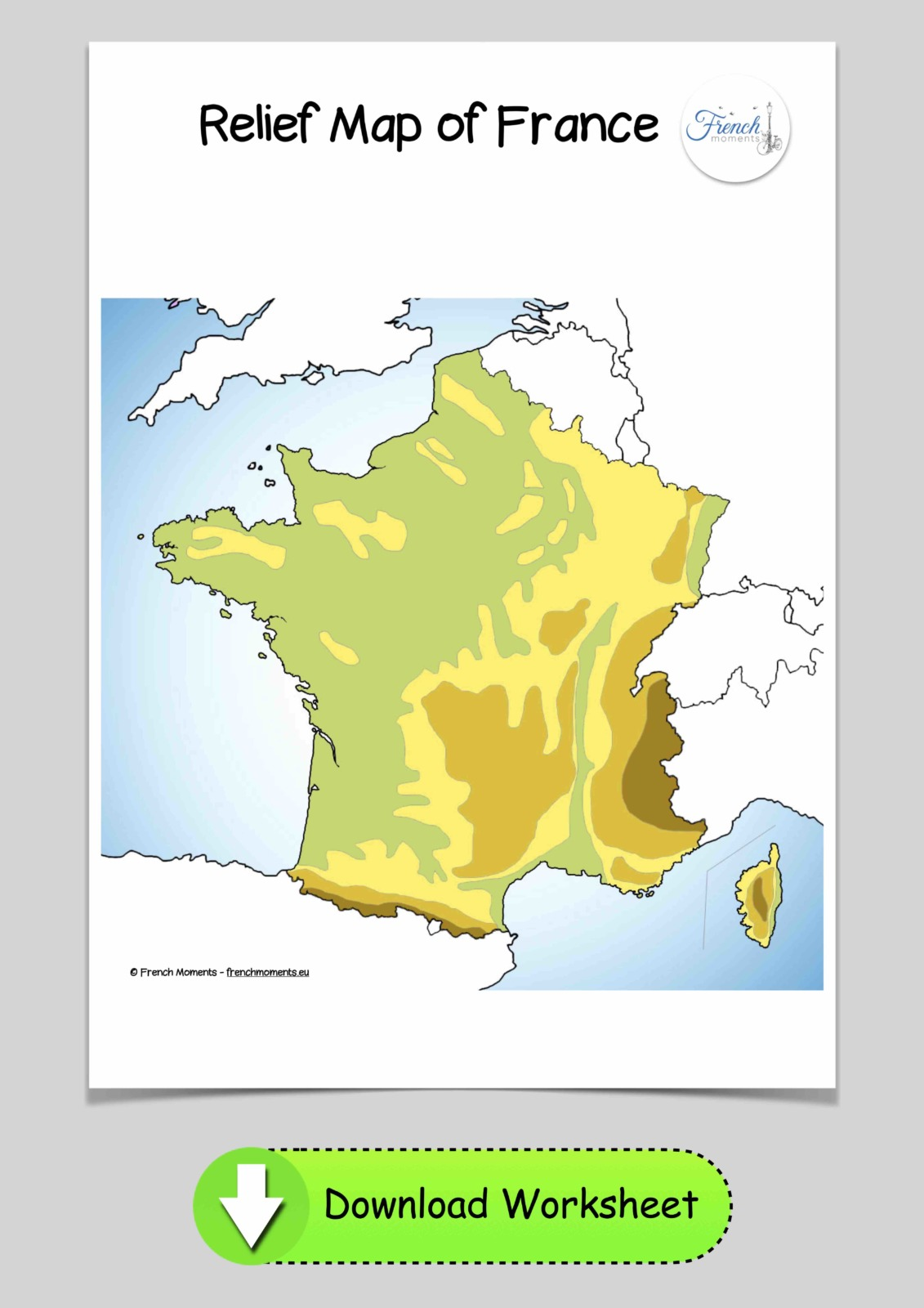 Blank Map of France Relief © French Moments