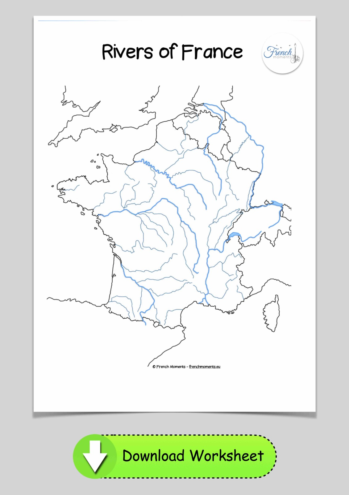 Blank Map of France Rivers © French Moments