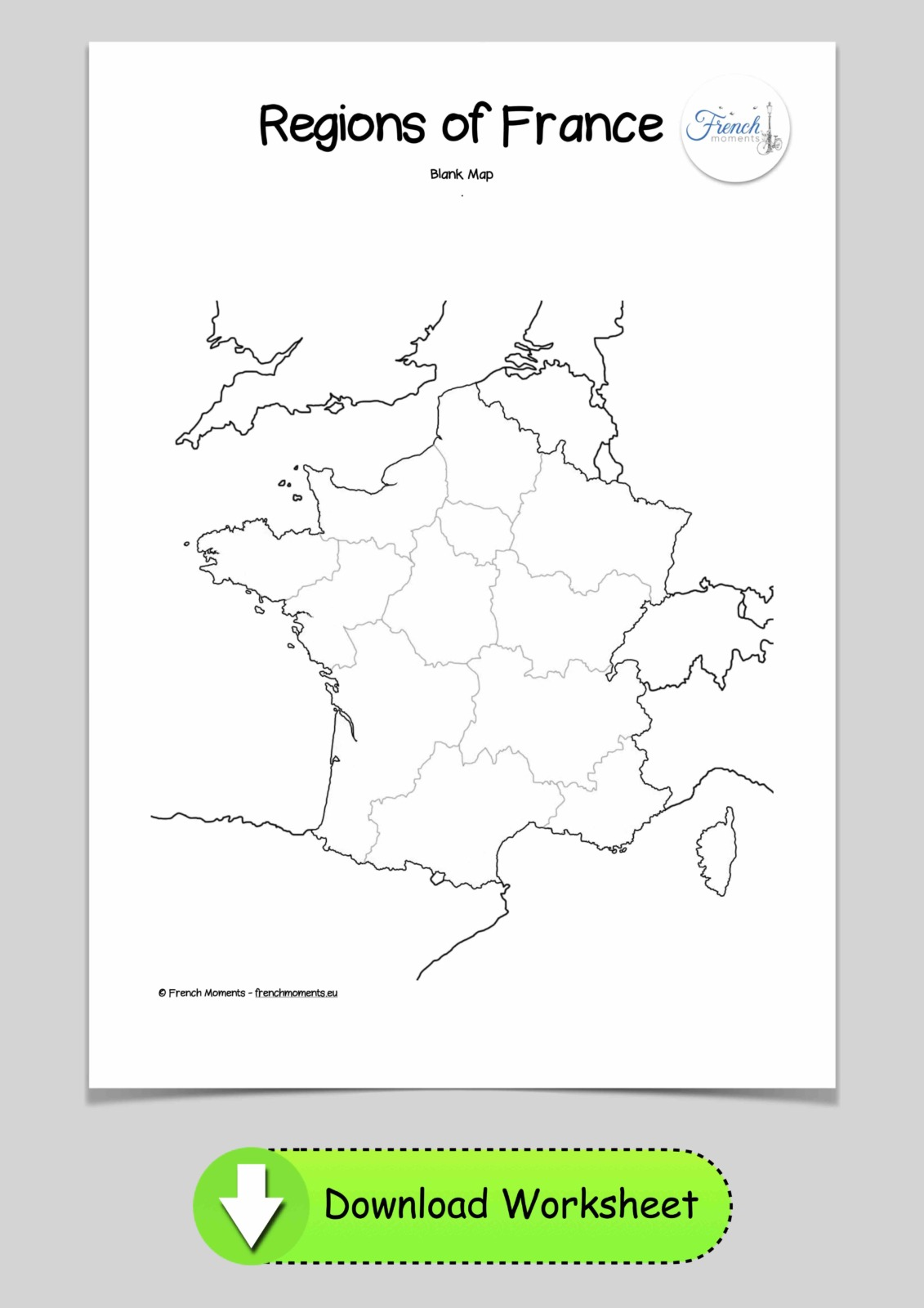 Blank Map of the regions of France © French Moments