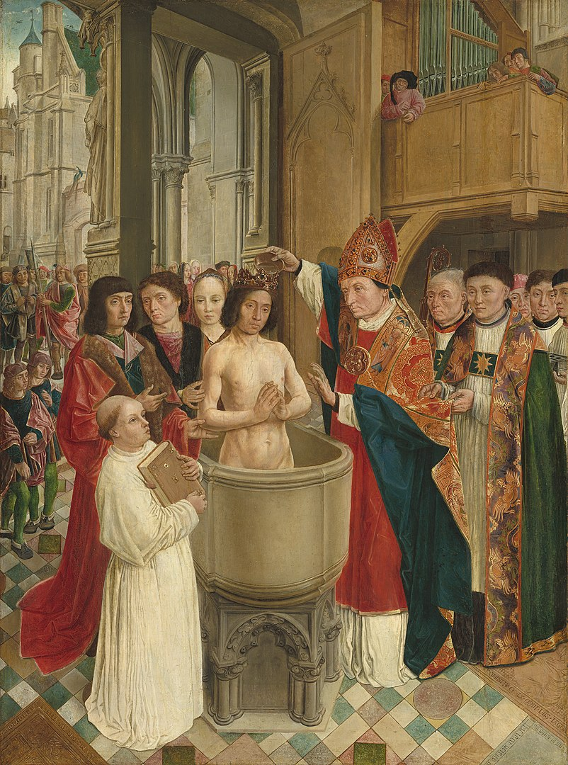 How France Got Its Name - Baptism of Clovis by Master of Saint Giles 15e c