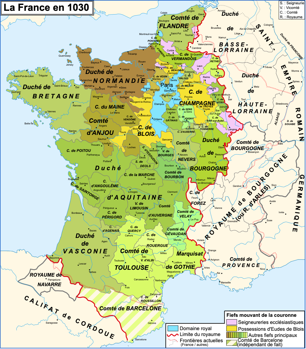 France Map ca 1030 © Zigeuner - licence [CC BY-SA 3.0] from Wikimedia Commons