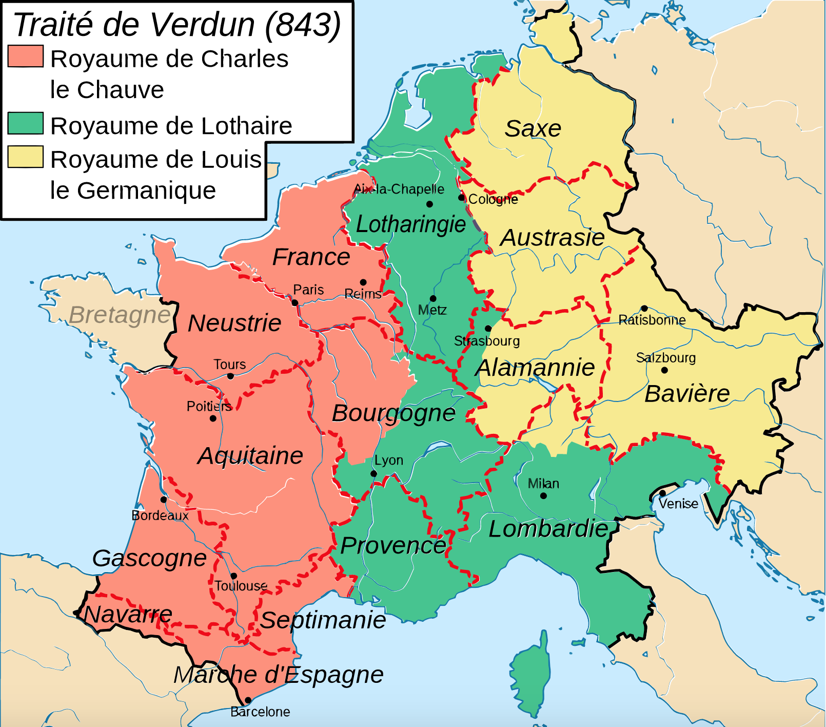 The division of Charlemagne's empire © FlyingPC licence [CC BY-SA 3.0] from Wikimedia Commons