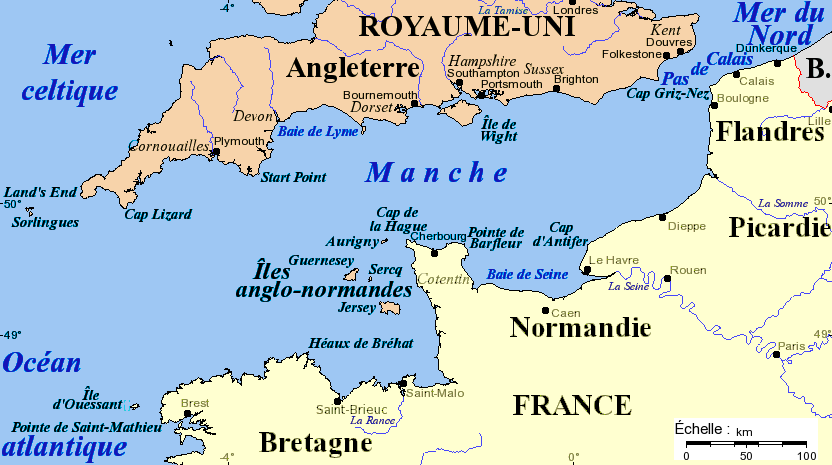 England in French - Carte de la Manche © Idarvol - licence [CC BY-SA 3.0] from Wikimedia Commons