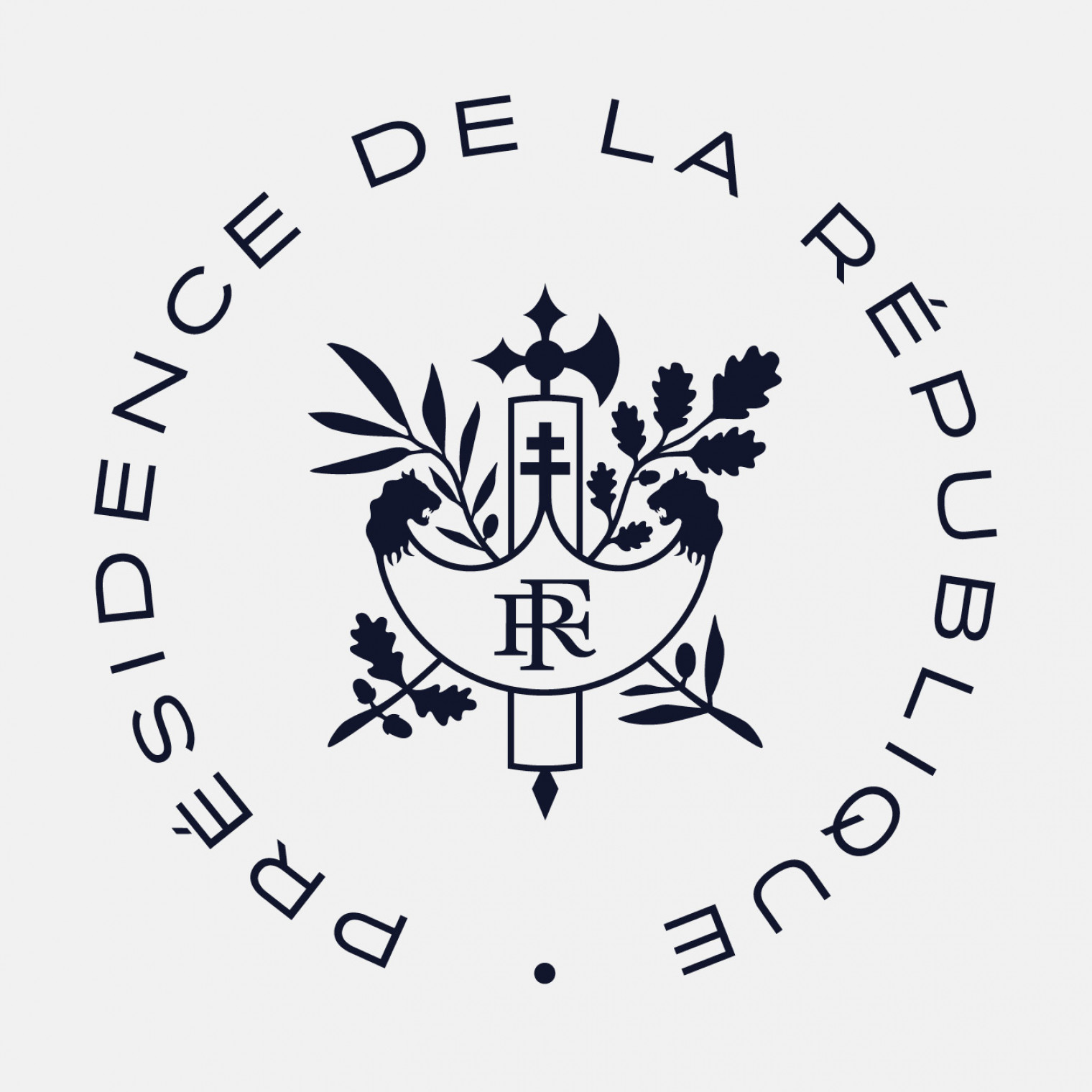 The cross of Lorraine in the lictor's fasces, coat of arms of the French Republic.