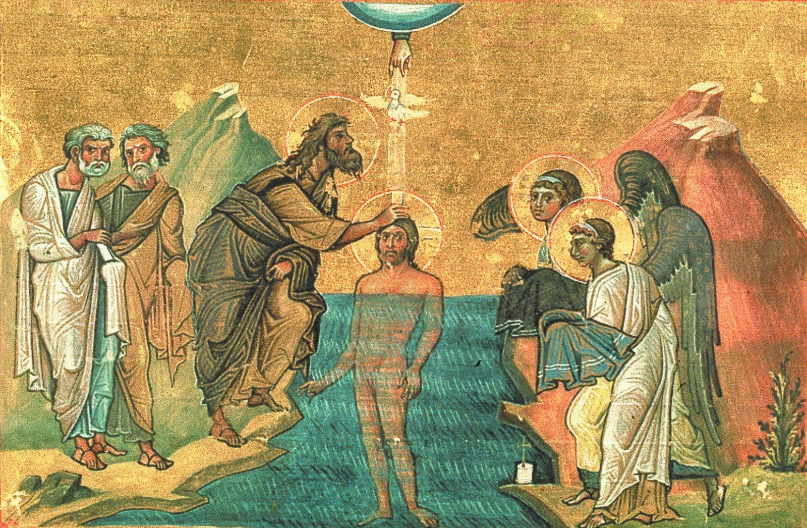 The Baptism of Jesus by John the Baptist - Menologe of Basil II (late 10th century)