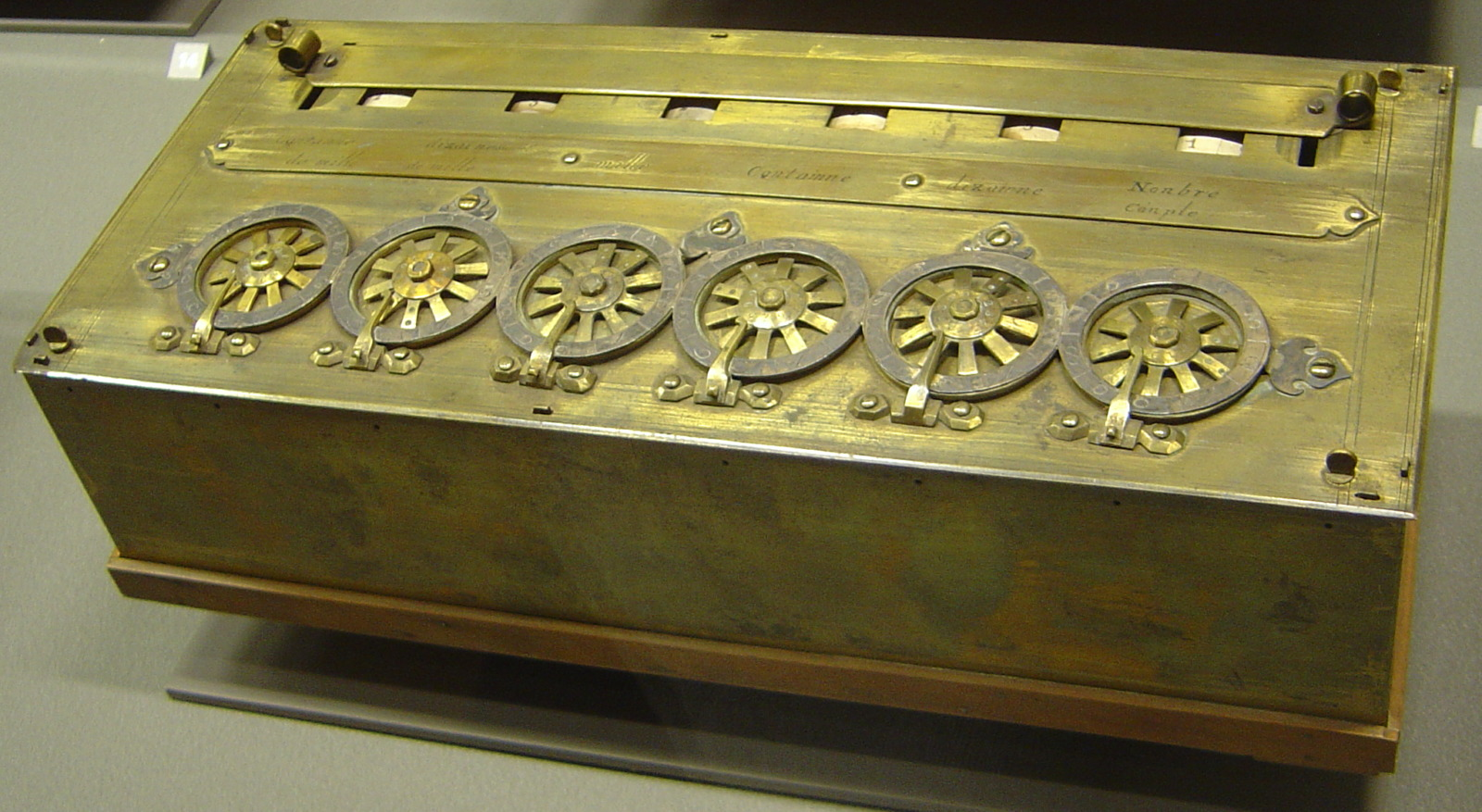 The Pascaline in the Arts et Métiers museum © Unknow Author - licence [CC BY-SA 3.0] from Wikimedia Commons