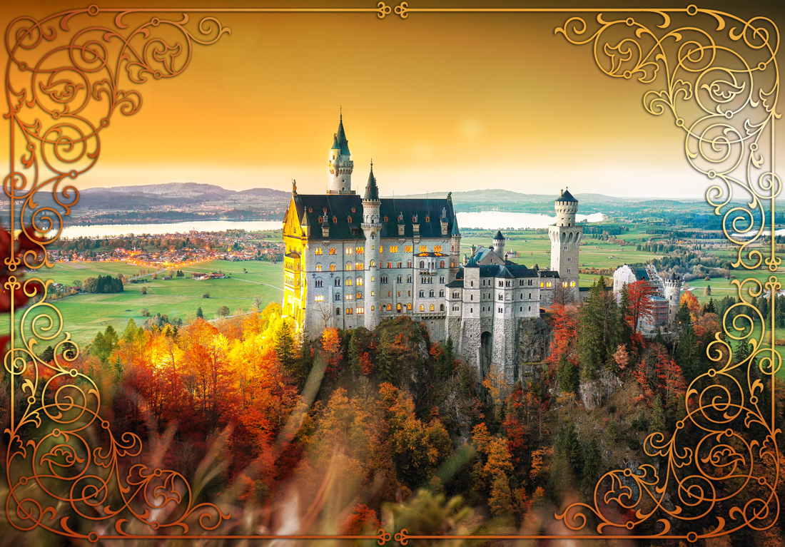 Aerial view of famous Neuschwanstein Castle in autumn. Photo by Pilat666 from Envato Elements